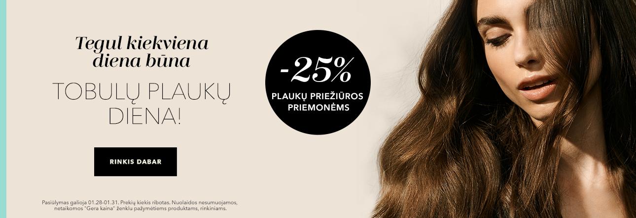 Nuolaida plaukų priežiūros priemonėms -25%