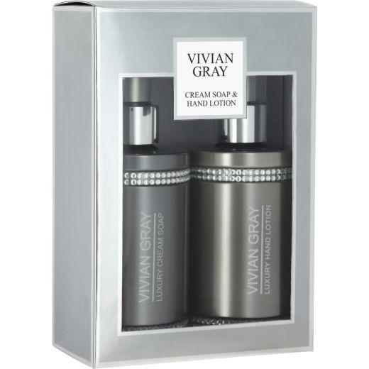 Grey Crystals Cream Soap & Hand Lotion Set