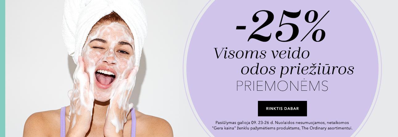 -25% Veido odos kosmetikai