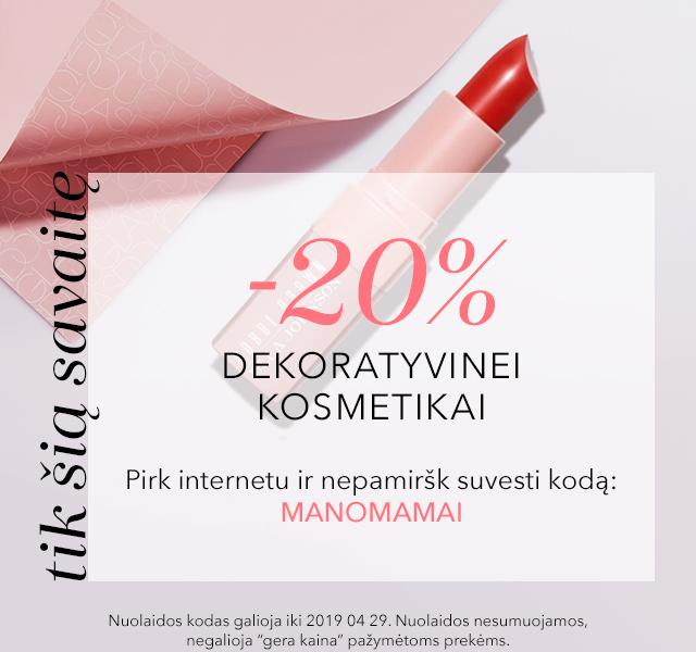 -20% DEKORATYVINEI KOSMETIKAI tik internete