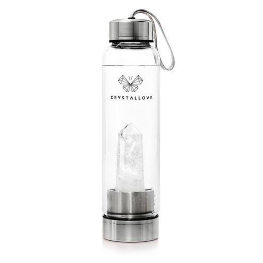 Clear Quartz Bottle - Silver