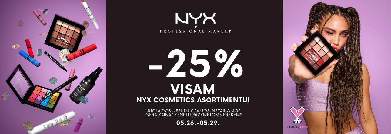 -25% NYX kosmetikai