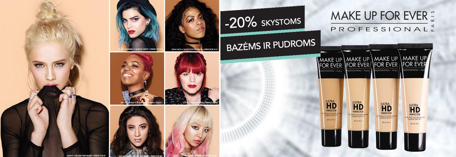 20% nuolaida Make Up Forever pudroms