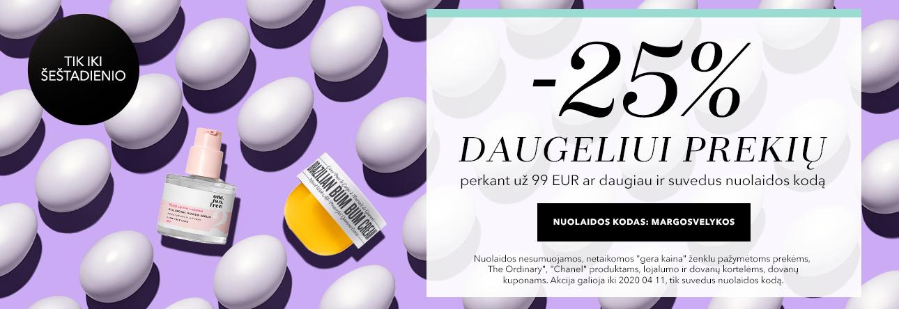 -25% daugeliui prekių su kodu MERGOSVELYKOS perkant už 99 Eur ar daugiau